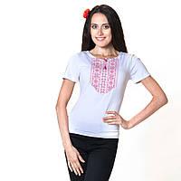 Женская вышитая футболка. Мережка красная, фото 1
