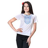 Женская вышитая футболка. Мережка бирюза, фото 1