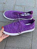 Мокасины женские летние фиолетовые на шнуровке КРОК  Украина