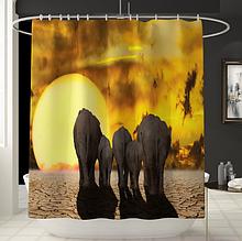 Занавеска-шторка для душа «Слоны» 170×180 см