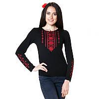 Вышитая женская футболка с длинным рукавом. Стебнивка красный