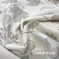 Льняная ткань с цветами 100% лен, цвет 376