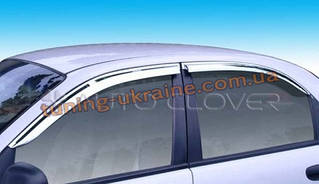 Дефлекторы окон (ветровики) Auto Clover (хром) для DAEWOO Sens Седан