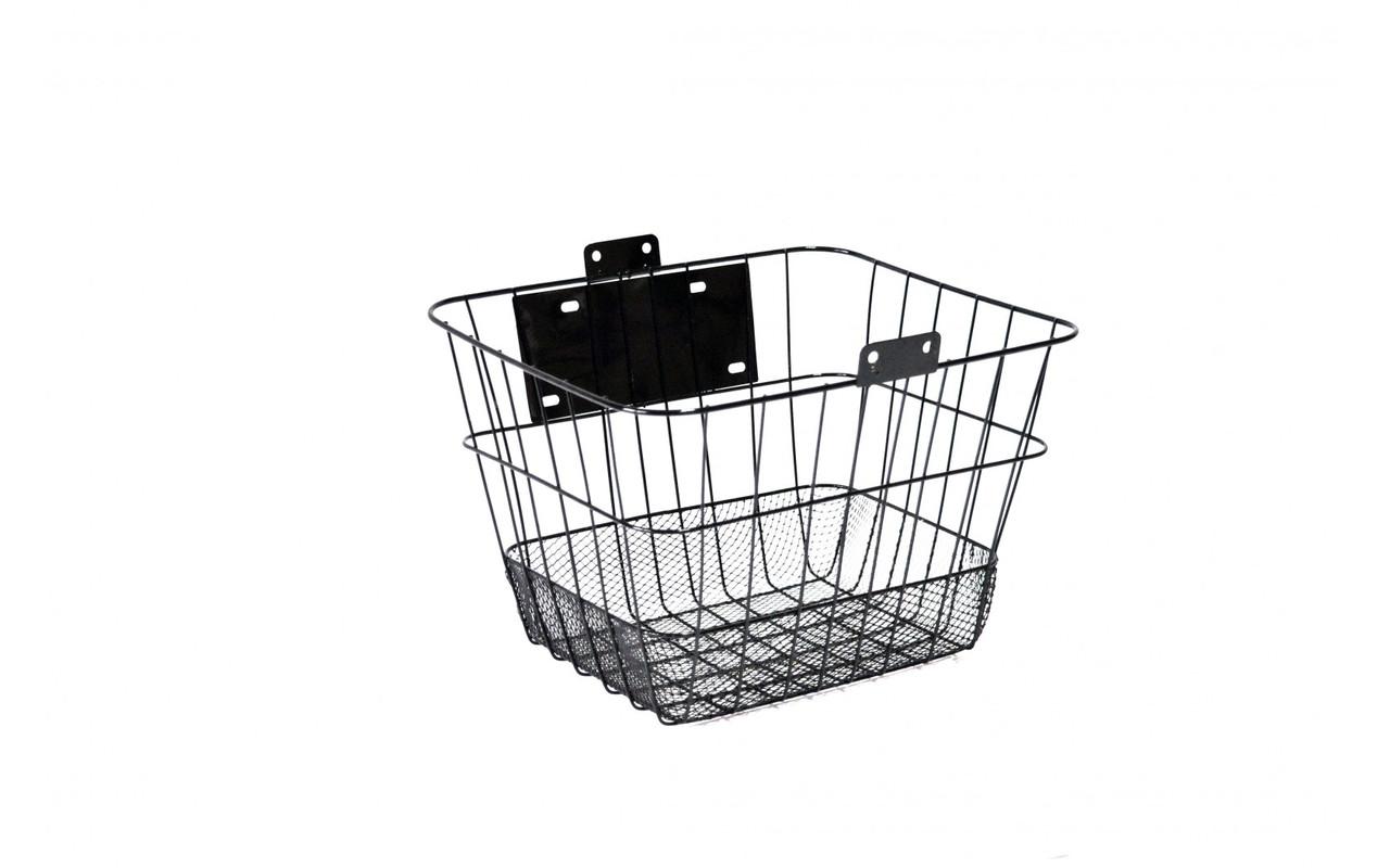 Корзина велосипедная  JL-CK095  на руль / багажная / быстросъёмная, черная  под любой диаметр колеса