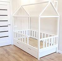 Детская кровать Домик с бортиком и ящиками