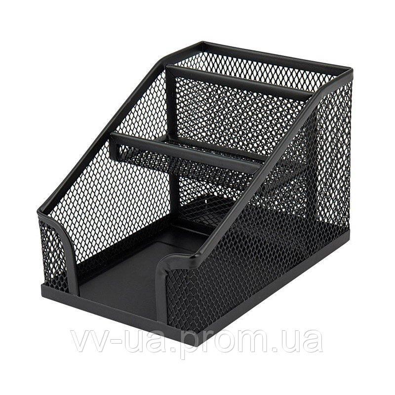 Подставка-органайзер Axent 2118-01-A, 100x143x100 мм, 3 отделения, черная