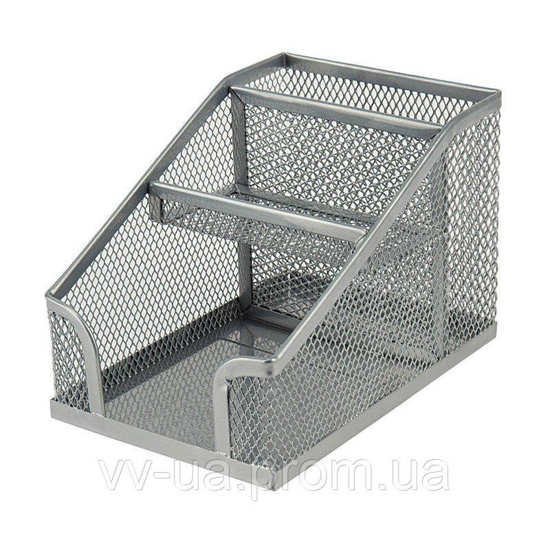 Подставка-органайзер Axent 2118-03-A, 100x143x100 мм, 3 отделения, серебристая
