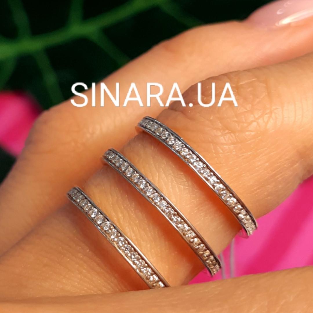 Серебряное кольцо 3 дорожки - Кольцо серебро с позолотой минимализм