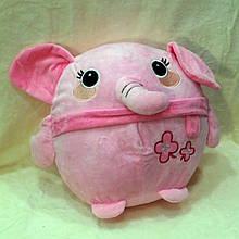 Плед - м'яка іграшка 3 в 1 (Слоник рожевий)