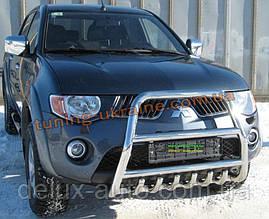 Защита переднего бампера кенгурятник высокий без надписи (нерж.) D70 на Mitsubishi L200 2006-2010