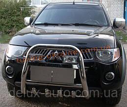 Защита переднего бампера кенгурятник высокий с надписью (нерж.) D60 на Mitsubishi L200 2006-2010