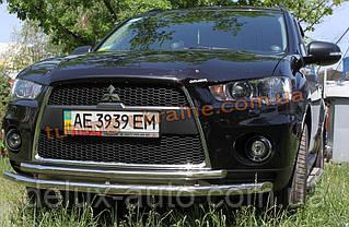 Защита переднего бампера труба двойная D60-42 на Mitsubishi Outlander 2010-2014