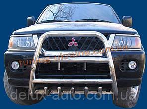 Защита переднего бампера кенгурятник высокий без надписи (нерж.) D60 на Mitsubishi Pagero Sport 2002-08