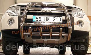 Защита переднего бампера кенгурятник высокий с надписью (нерж.) D60 на Mitsubishi Pagero Vagon 4 2007