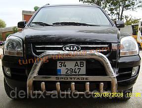 Защита переднего бампера кенгурятник низкий с надписью D60 на Kia Sportage 2004-2010