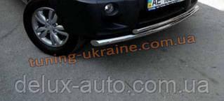 Защита переднего бампера труба двойная D60-42 на Kia Sportage 2004-2010