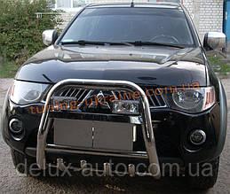 Защита переднего бампера кенгурятник высокий с надписью (нерж.) D70 на Mitsubishi L200 2012+