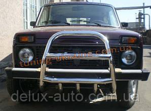Защита переднего бампера кенгурятник высокий (нерж.) D60 на  Lada Niva 2131-21314