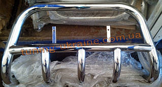 Защита переднего бампера кенгурятник из нерж. стали  D60 (c защитой картера) на Lada Niva 2131-21314