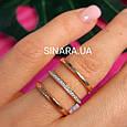 Серебряное кольцо с позолотой 3 полоски - Минималистичное кольцо в позолоте, фото 5