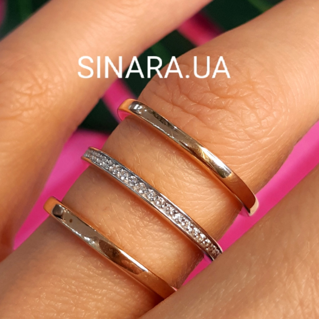 Серебряное кольцо с позолотой 3 полоски - Минималистичное кольцо в позолоте