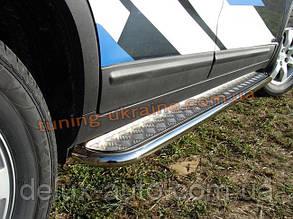 Боковые пороги  труба c листом (алюминиевым) D42 на Fiat Doblo короткая база