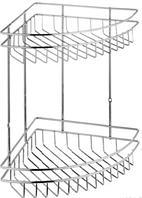 Двойная угловая полка из металла для ванной комнаты 22х22 см.
