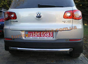 Защита заднего бампера труба прямая D60 на Volkswagen Tiguan 2008+