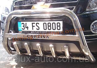 Защита переднего бампера кенгурятник низкий с надписью D60 на Chevrolet Captiva 2006-2011