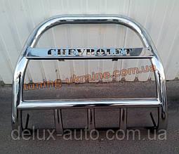 Защита переднего бампера кенгурятник высокий с надписью D60 на Chevrolet Niva 2010