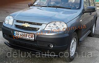 Защита переднего бампера труба двойная крашеная на Chevrolet Niva