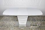 Раскладной стеклянный стол ATLANTA 120/160х80 белый Nicolas (бесплатная доставка), фото 2