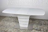 Раскладной стеклянный стол ATLANTA 120/160х80 белый Nicolas (бесплатная доставка), фото 3
