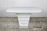 Раскладной стеклянный стол ATLANTA 120/160х80 белый Nicolas (бесплатная доставка), фото 4