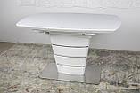 Раскладной стеклянный стол ATLANTA 120/160х80 белый Nicolas (бесплатная доставка), фото 9
