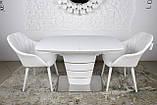 Раскладной стеклянный стол ATLANTA 120/160х80 белый Nicolas (бесплатная доставка), фото 10