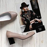 Женские кожаные туфли бежевого цвета на невысоком каблуке Возможен отшив в других цветах кожи и замши