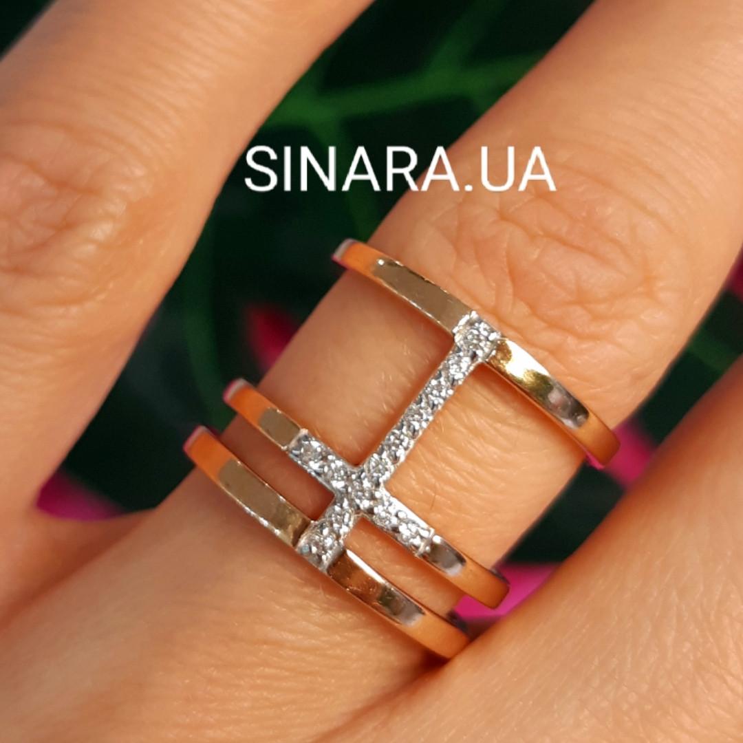 Серебряное кольцо с позолотой - Брендовое серебряное кольцо с розовой позолотой