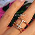Серебряное кольцо с позолотой - Брендовое серебряное кольцо с розовой позолотой, фото 8