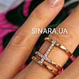 Серебряное кольцо с позолотой - Брендовое серебряное кольцо с розовой позолотой, фото 7
