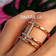 Серебряное кольцо с позолотой - Брендовое серебряное кольцо с розовой позолотой, фото 2