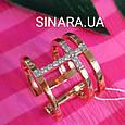 Серебряное кольцо с позолотой - Брендовое серебряное кольцо с розовой позолотой, фото 3