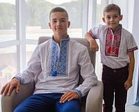 Рубашка Вышиванка для мальчиков 6,7,8,9,10,12 лет. Украинская вышитая школьная сорочка длинный рукав, детская