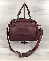 Бордовая сумка 56607 саквояж с ручками и ремешком через плечо на молнии, фото 1