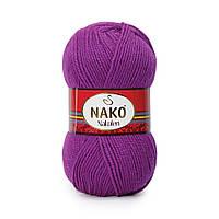 Пряжа Nako Nakolen 6637 фуксия (нитки для вязания Нако Наколен) полушерсть 49% шерсть, 51% акрил