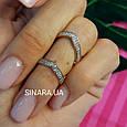 Серебряное кольцо на 2 фаланги с позолотой - Кольцо на фалангу - Фаланговое кольцо серебро с золотом, фото 6