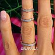 Серебряное кольцо на 2 фаланги с позолотой - Кольцо на фалангу - Фаланговое кольцо серебро с золотом, фото 4