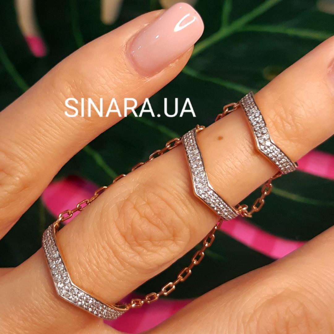 Серебряное кольцо на 2 фаланги с позолотой - Кольцо на фалангу - Фаланговое кольцо серебро с золотом