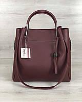 Бордовая женская сумка шоппер с клатчем с металлическими ручками 57007, фото 1