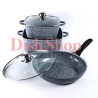 Набор кастрюль+сковорода из литого алюминия с гранитным антипригарным покрытием Benson